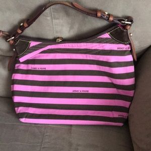 Dooney & Bourke pink and brown striped purse
